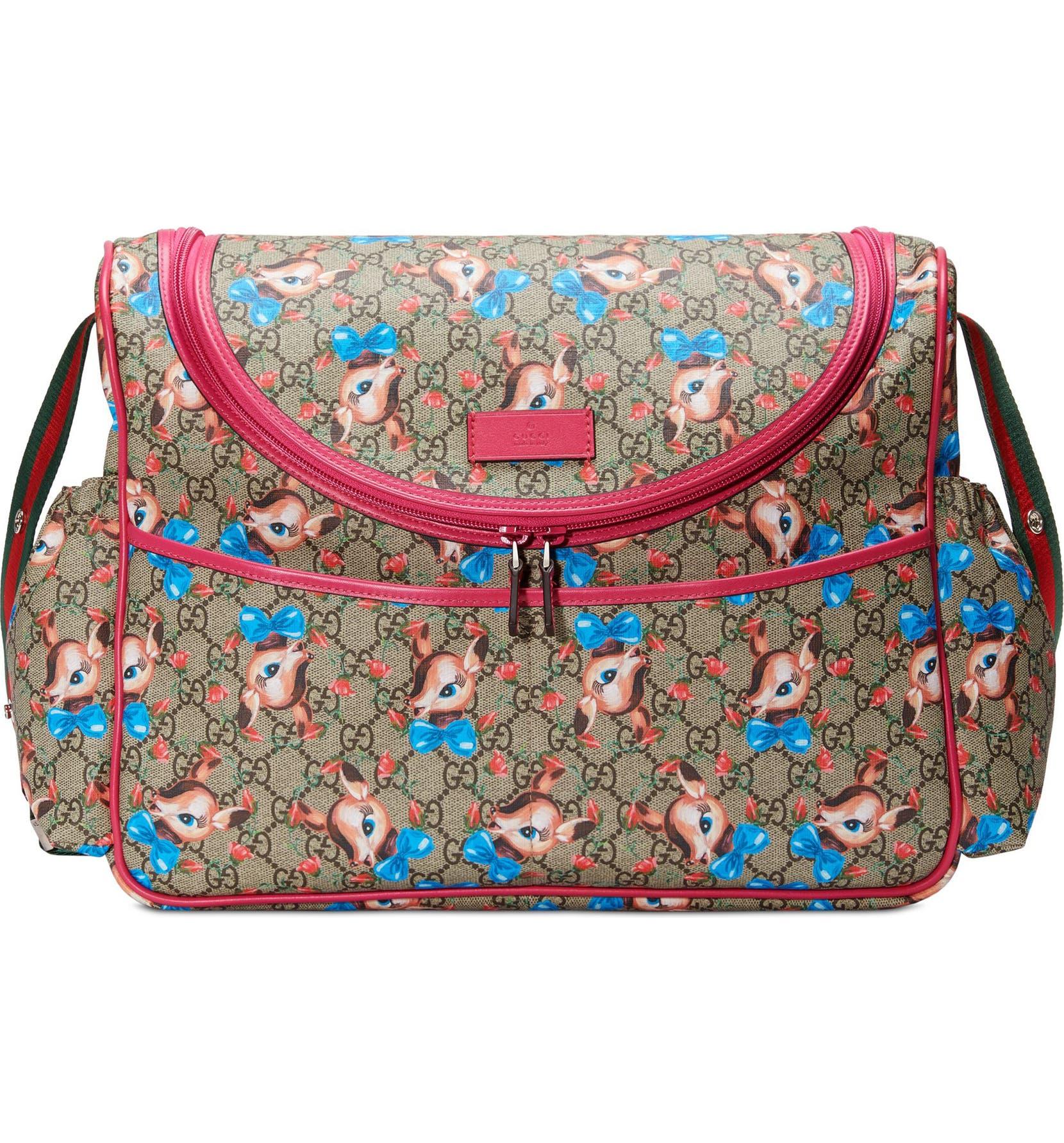 33c4be85b16f Gucci Deer & Rose Bud GG Supreme Canvas Diaper Bag | Nordstrom