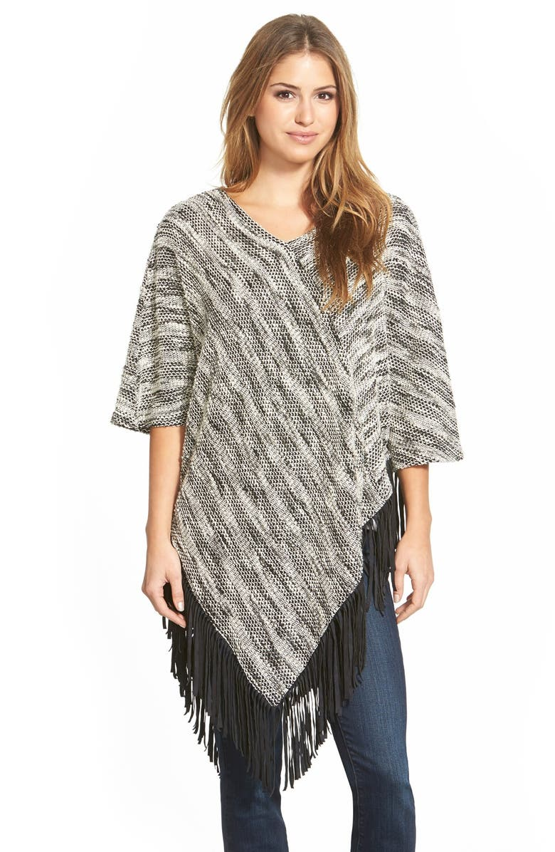 TWO BY VINCE CAMUTO Poncho with Faux Suede Fringe, Main, color, 001