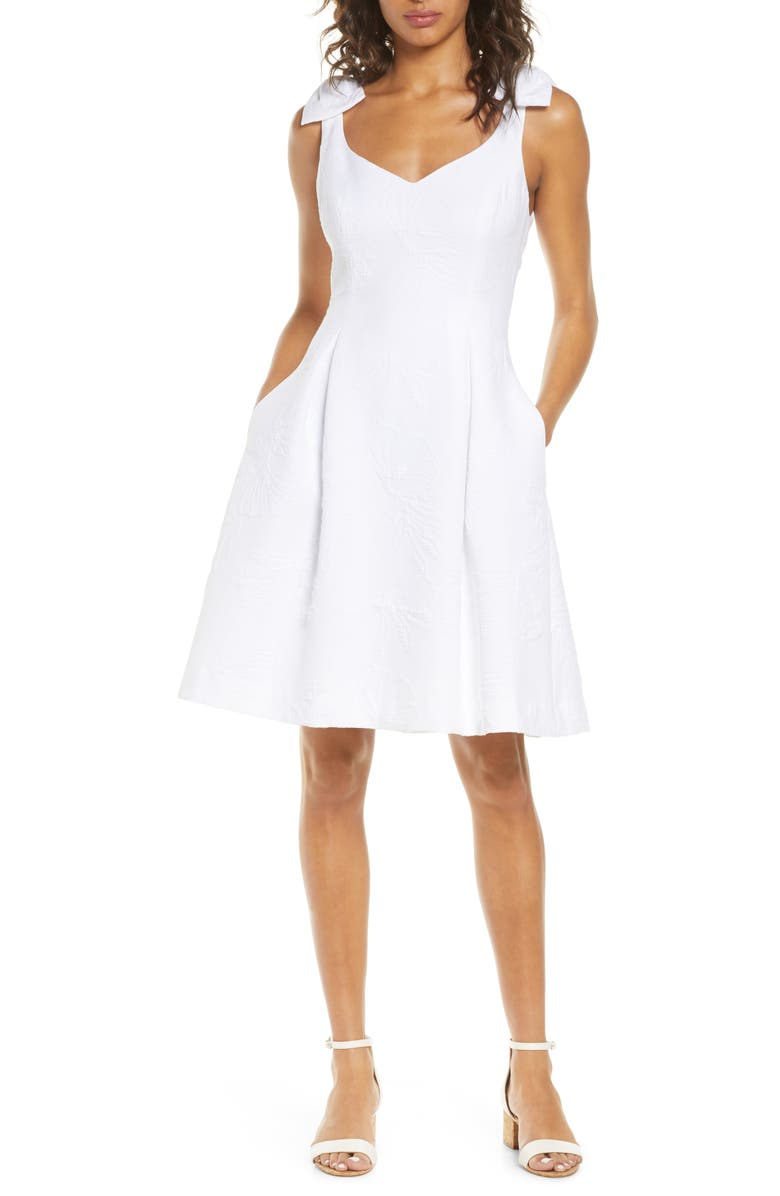 LILLY PULITZER<SUP>®</SUP> Linnet Jacquard Fit & Flare Dress, Main, color, RESORT WHI