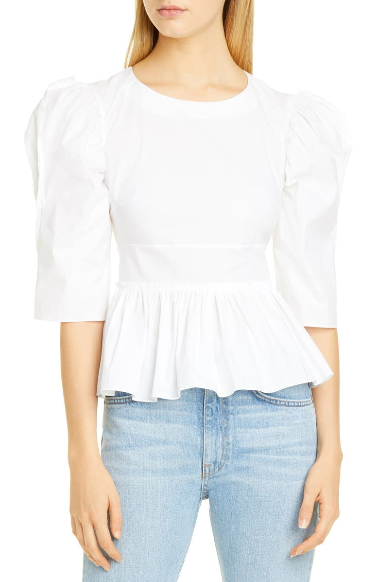BROCK COLLECTION Puff Shoulder Peplum Top, Main, color, WHITE