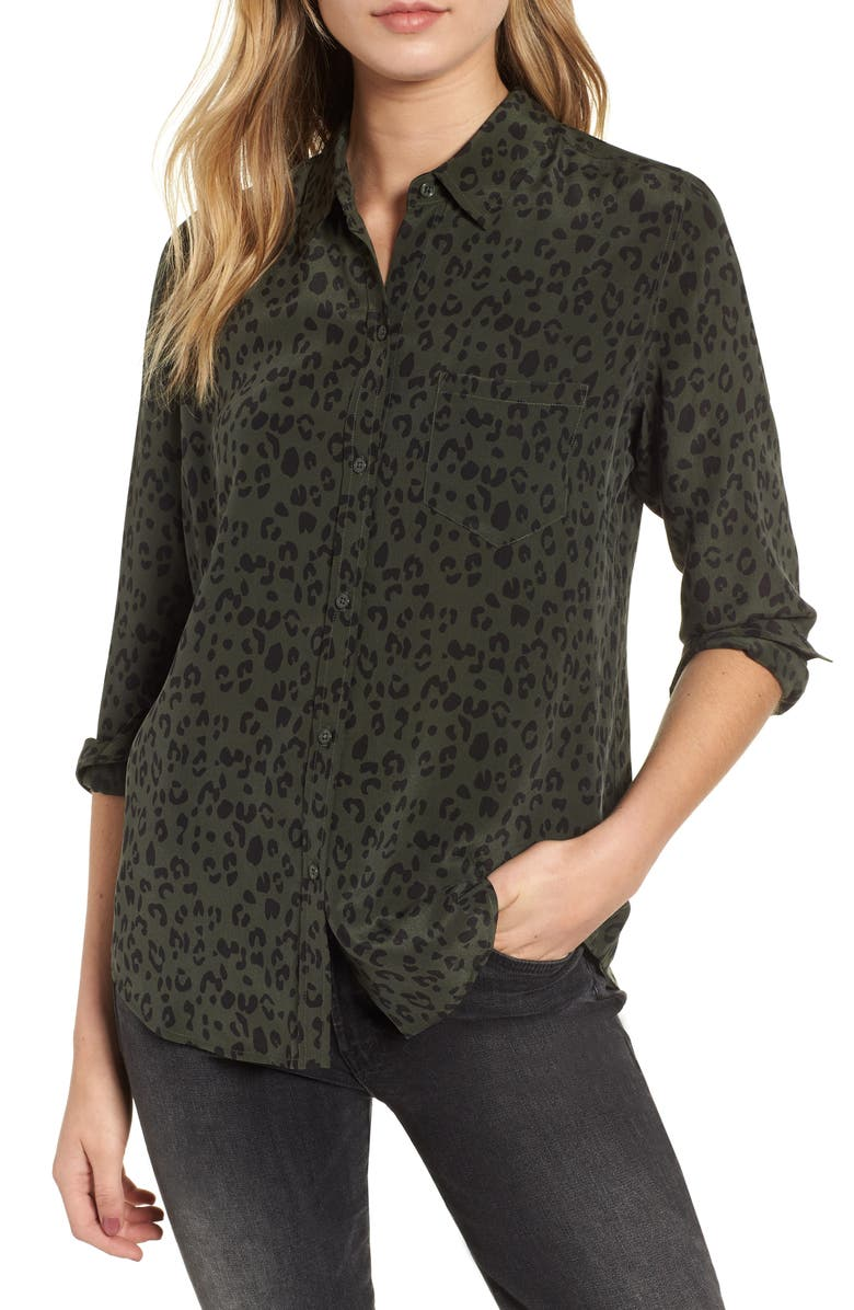 RAILS Kate Print Shirt, Main, color, OLIVE CHEETAH