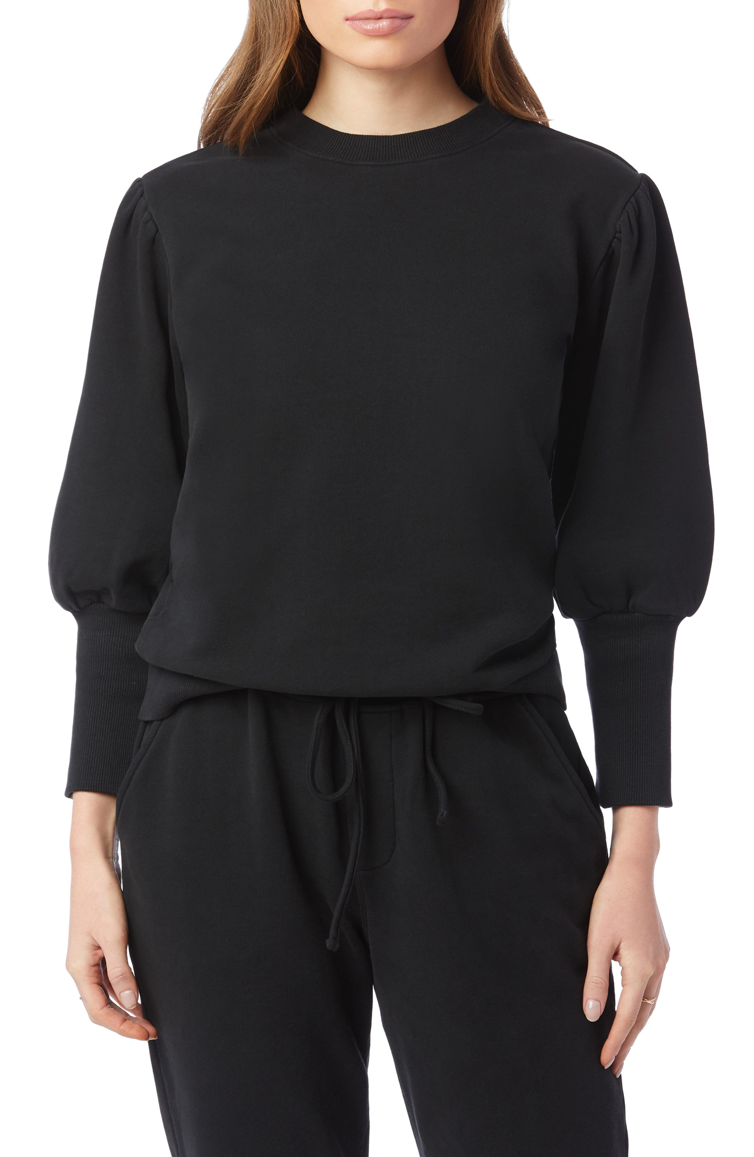 70s Workout Clothes | 80s Tracksuits, Running Shorts, Leotards Womens Joes Lonny Puff Sleeve Sweatshirt Size X-Large - Black $138.00 AT vintagedancer.com