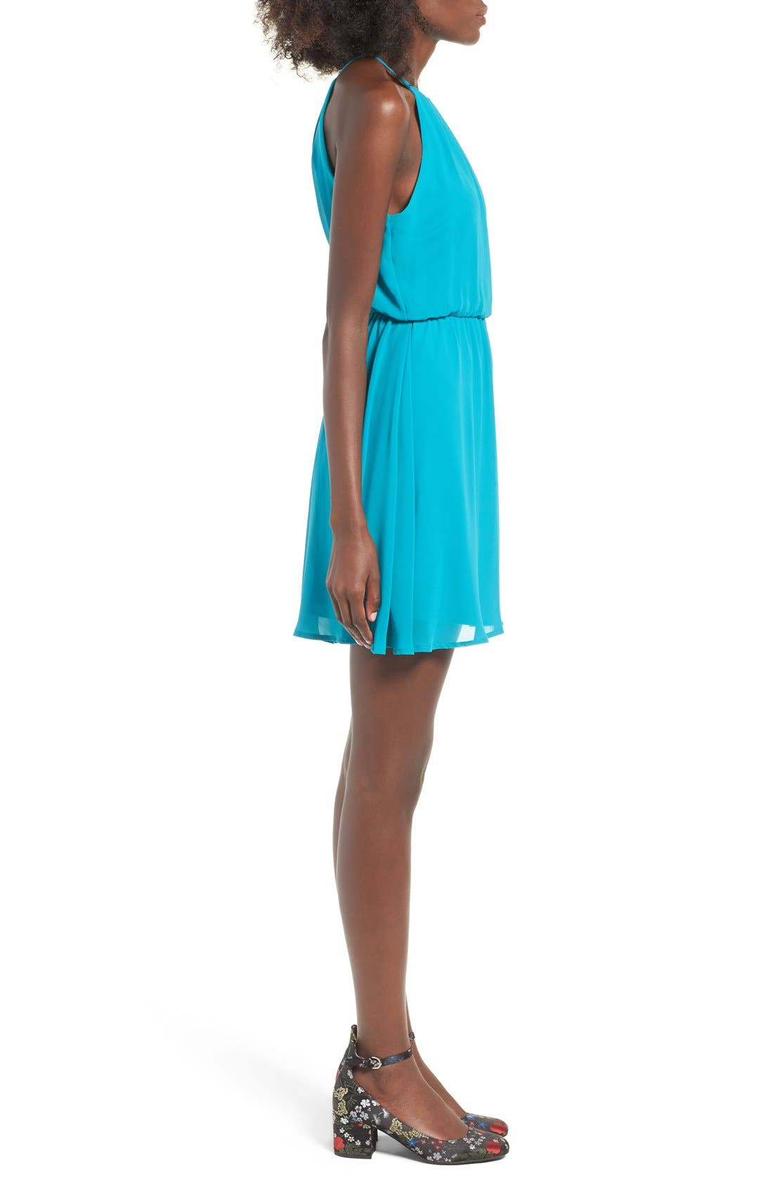 ,                             Blouson Chiffon Skater Dress,                             Alternate thumbnail 143, color,                             431