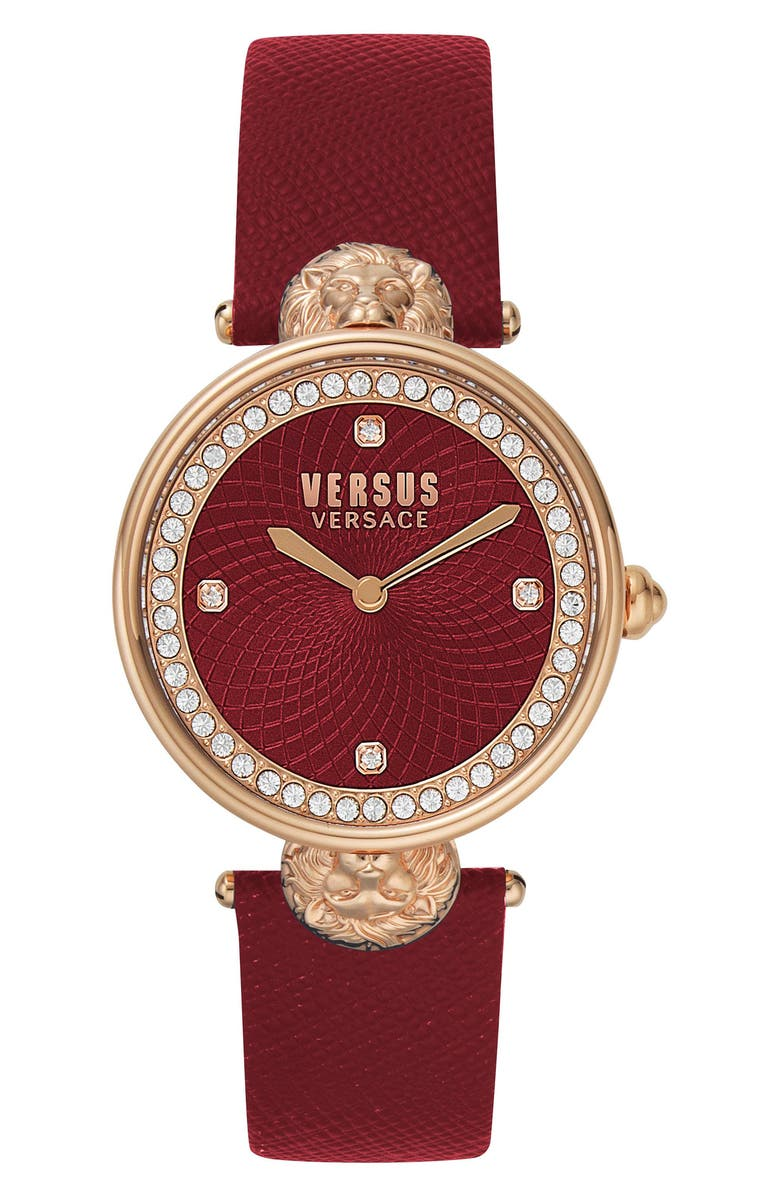 VERSACE VERSUS Versace Victoria Leather Strap Watch, 34mm, Main, color, BURGUNDY/ ROSE GOLD