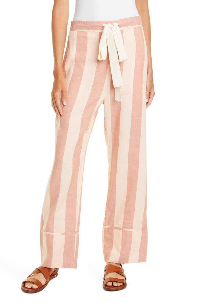 LEE MATHEWS Stripe PJ Pants, Main, color, ROSE