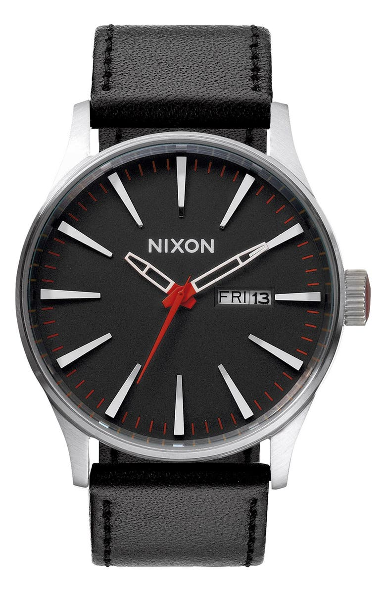 NIXON 'The Sentry' Leather Watch, 42mm, Main, color, BLACK/BLACK