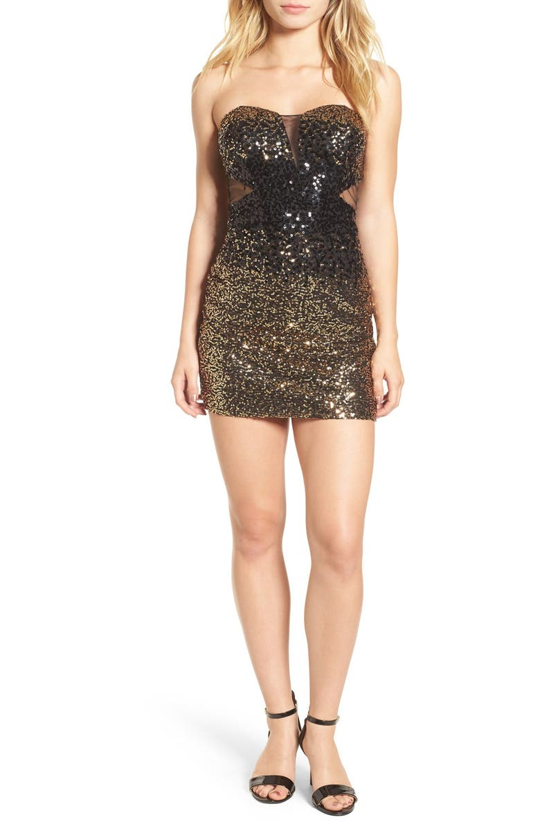 STEPPIN OUT Strapless Sequin Body-Con Dress, Main, color, 001