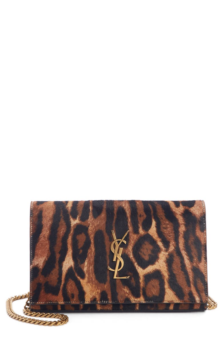 SAINT LAURENT Monogramme Genuine Calf Hair Wallet on a Chain, Main, color, NATUREL/ NOIR