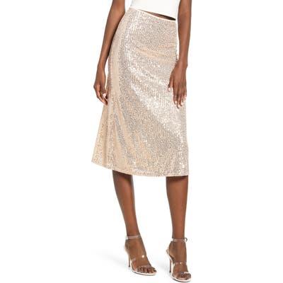 4Si3Nna Amor Sequin Stripe Skirt, Beige