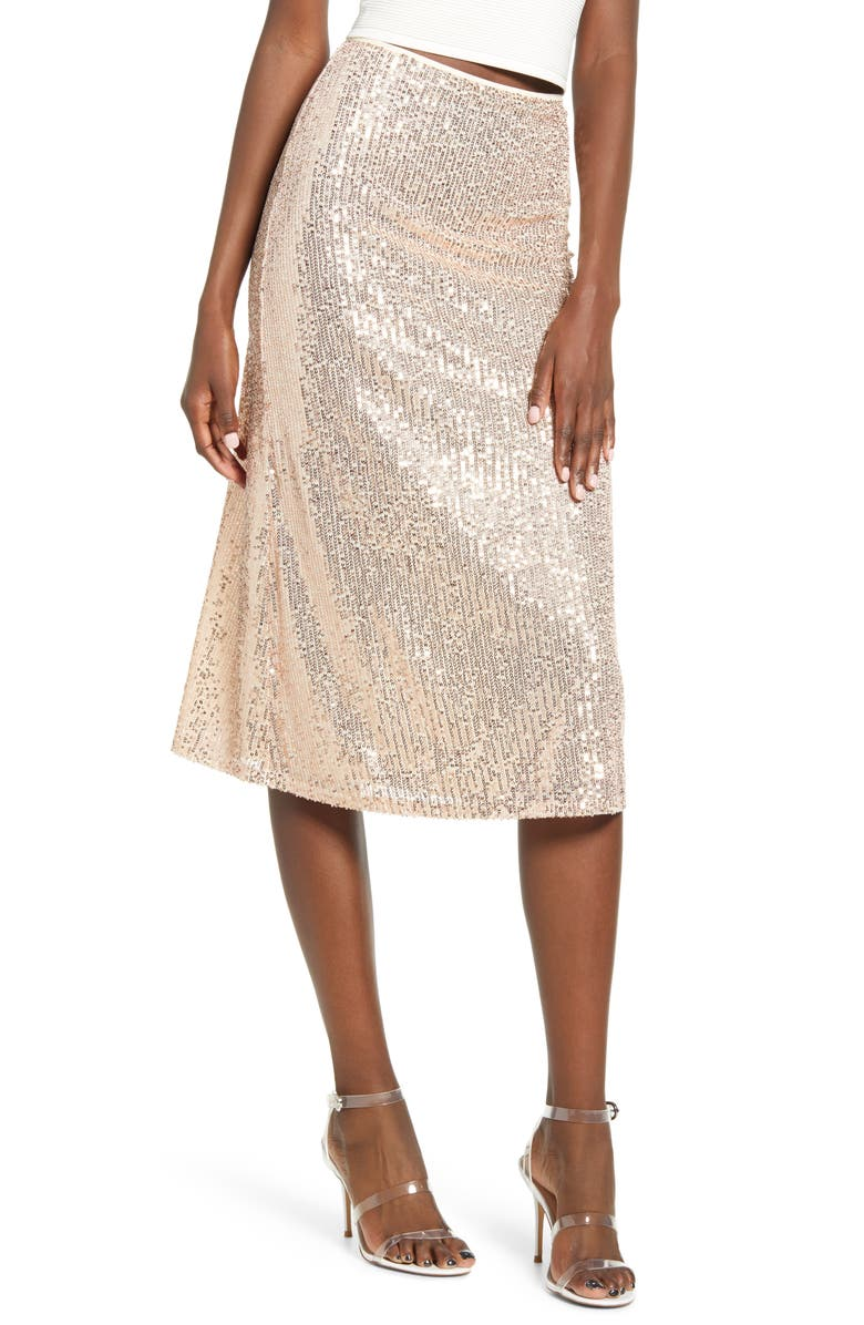 4SI3NNA Amor Sequin Stripe Skirt, Main, color, CHAMPAGNE