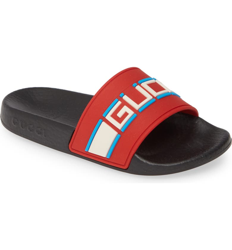 GUCCI Logo Slide Sandal, Main, color, POPPY RED