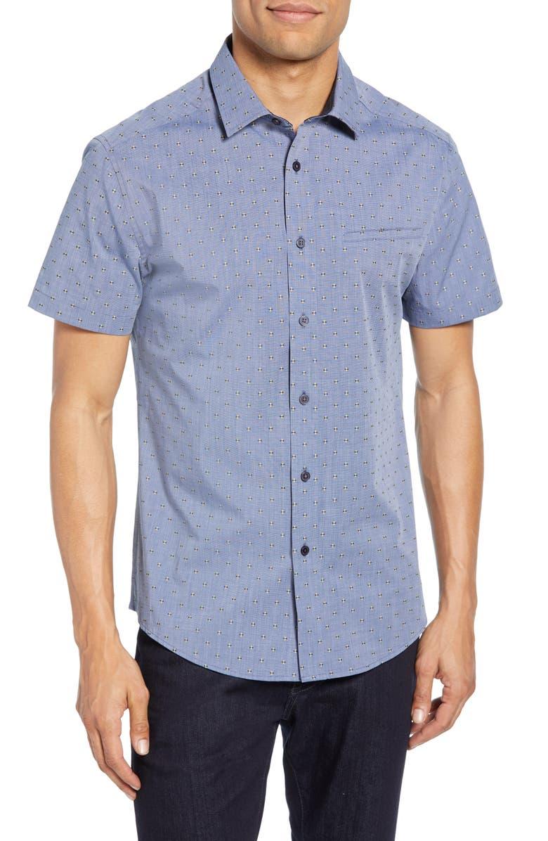VINCE CAMUTO Hacking Slim Fit Pocket Shirt, Main, color, NAVY DOBBY