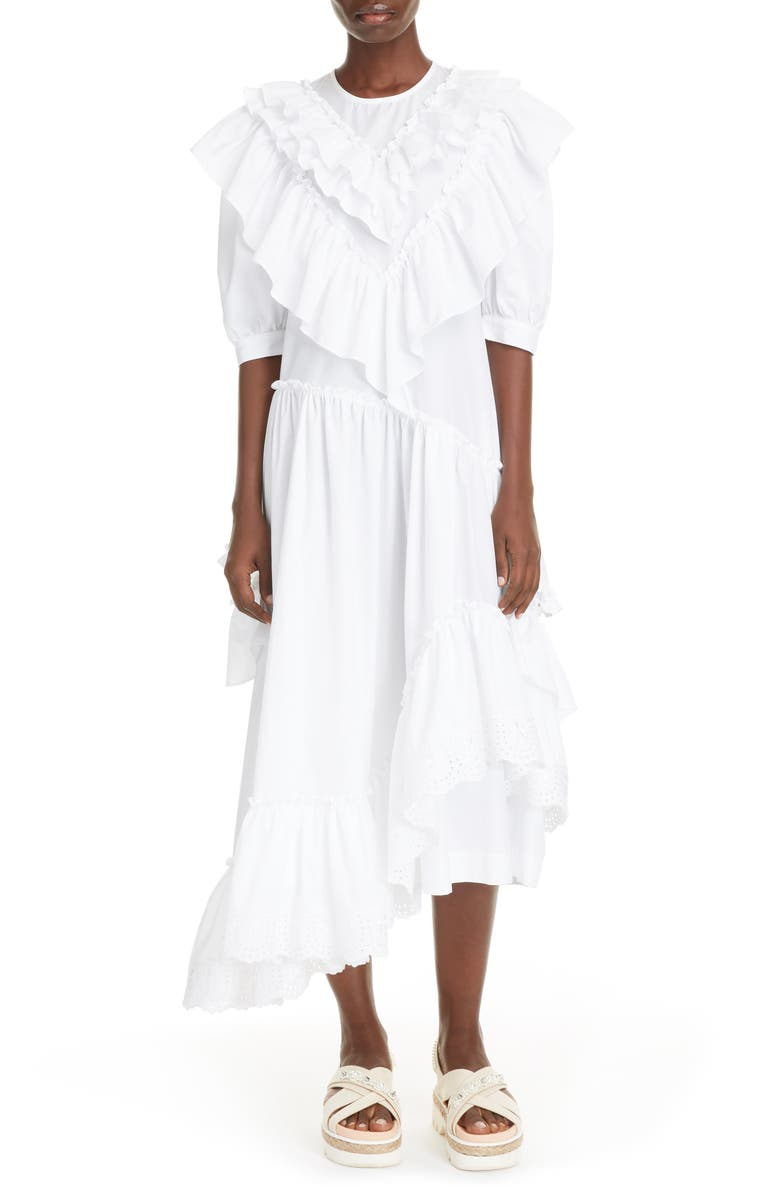 SIMONE ROCHA Asymmetrical Ruffle Cotton Poplin Midi Dress, Main, color, 100
