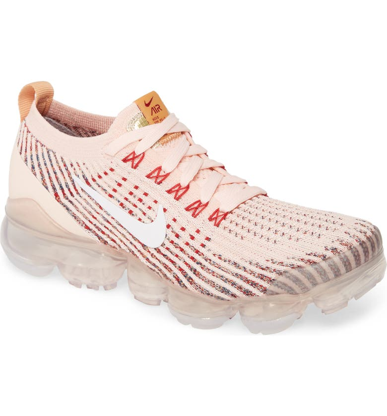 NIKE Air VaporMax Flyknit 3 Sneaker, Main, color, SUNSET TINT/ WHITE/ BLUE/ RED