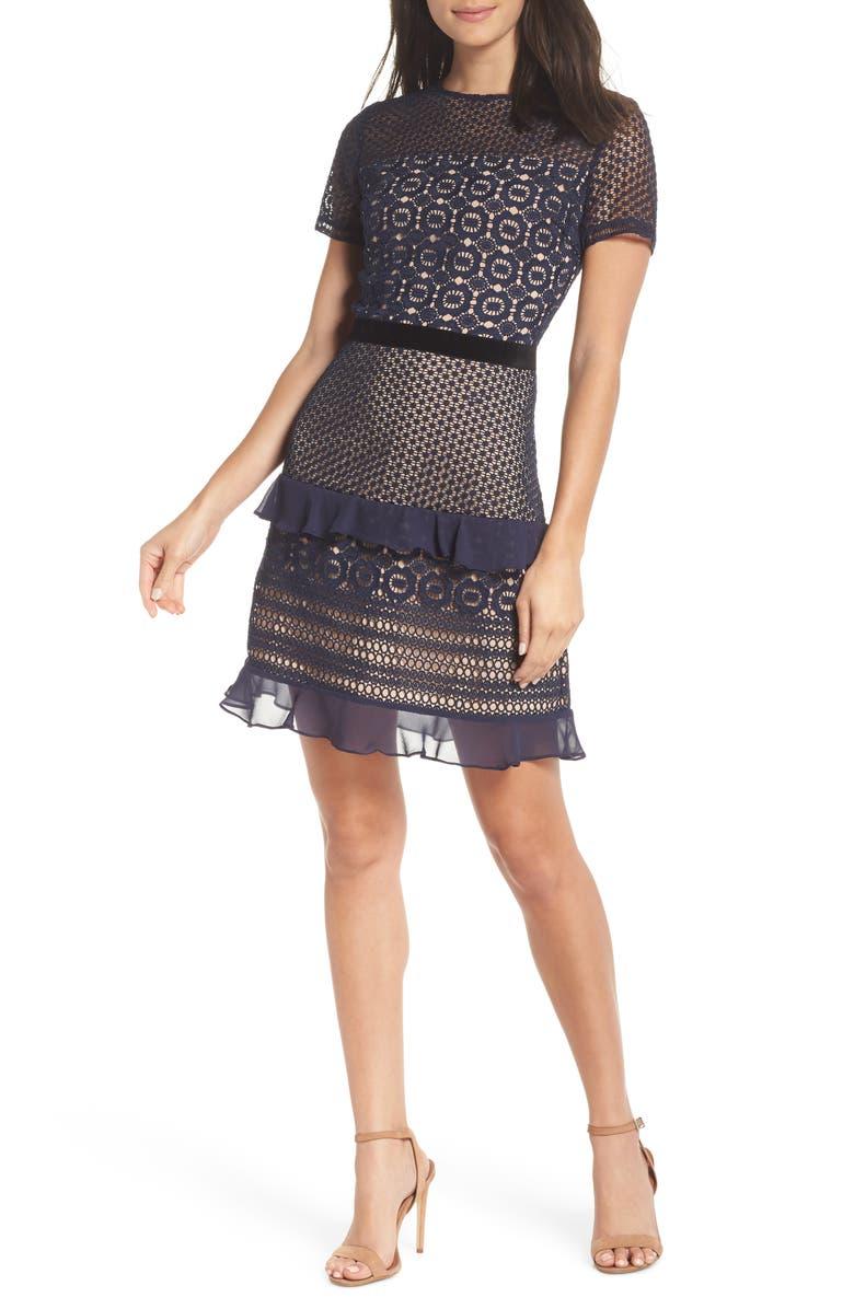 CHELSEA28 Velveteen Belt Lace Sheath Dress, Main, color, NAVY SAPPHIRE