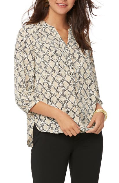 Nydj Pintuck-back Blouse In Midland Snake
