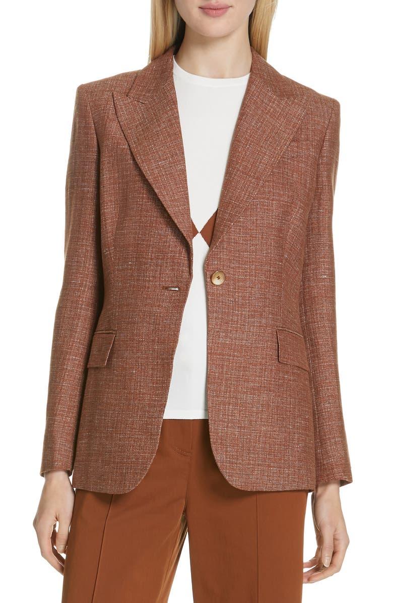 JUDITH & CHARLES Sorrento-B Textured Linen Jacket, Main, color, RUST