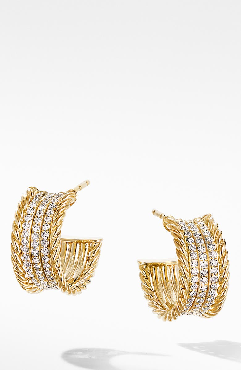 DAVID YURMAN Origami Cable Huggie Hoops in 18K Yellow Gold with Diamonds, Main, color, YELLOW GOLD/ DIAMOND