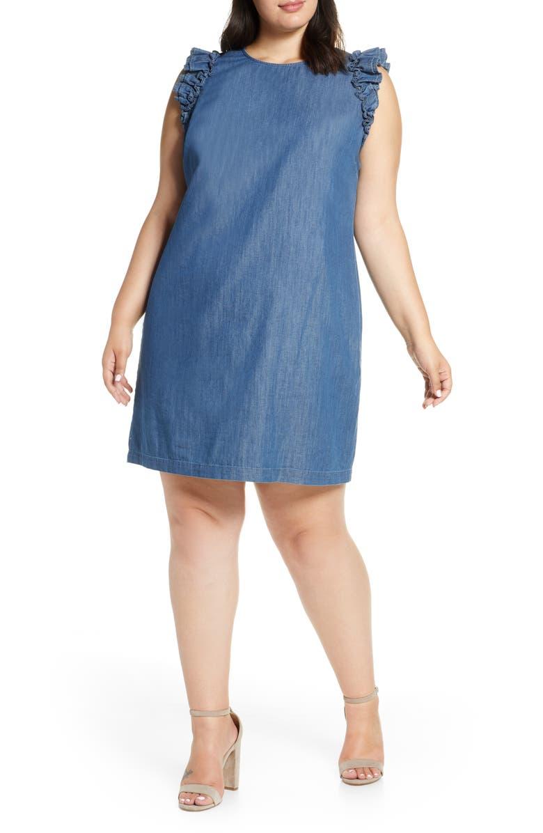 CECE Flutter Sleeve Denim Shift Dress, Main, color, AUTHENTIC