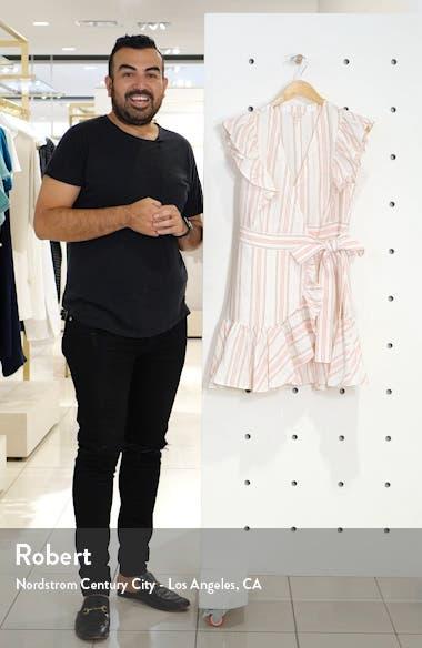 Stripe Ruffle Sleeveless Linen Wrap Dress, sales video thumbnail