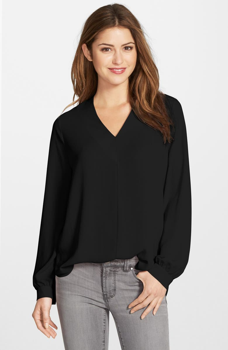 PLEIONE High/Low V-Neck Blouse, Main, color, 001