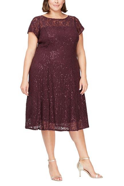 Image of SLNY Embellished Short Sleeve Midi Dress
