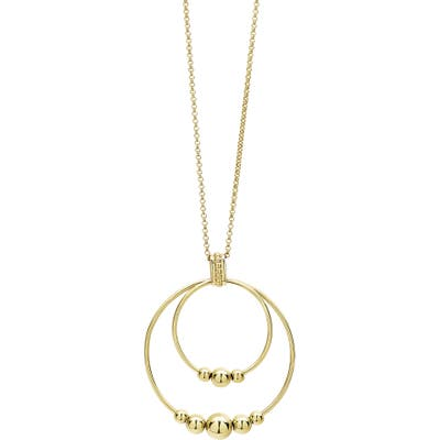 Lagos Caviar Gold Double Circle Pendant Necklace