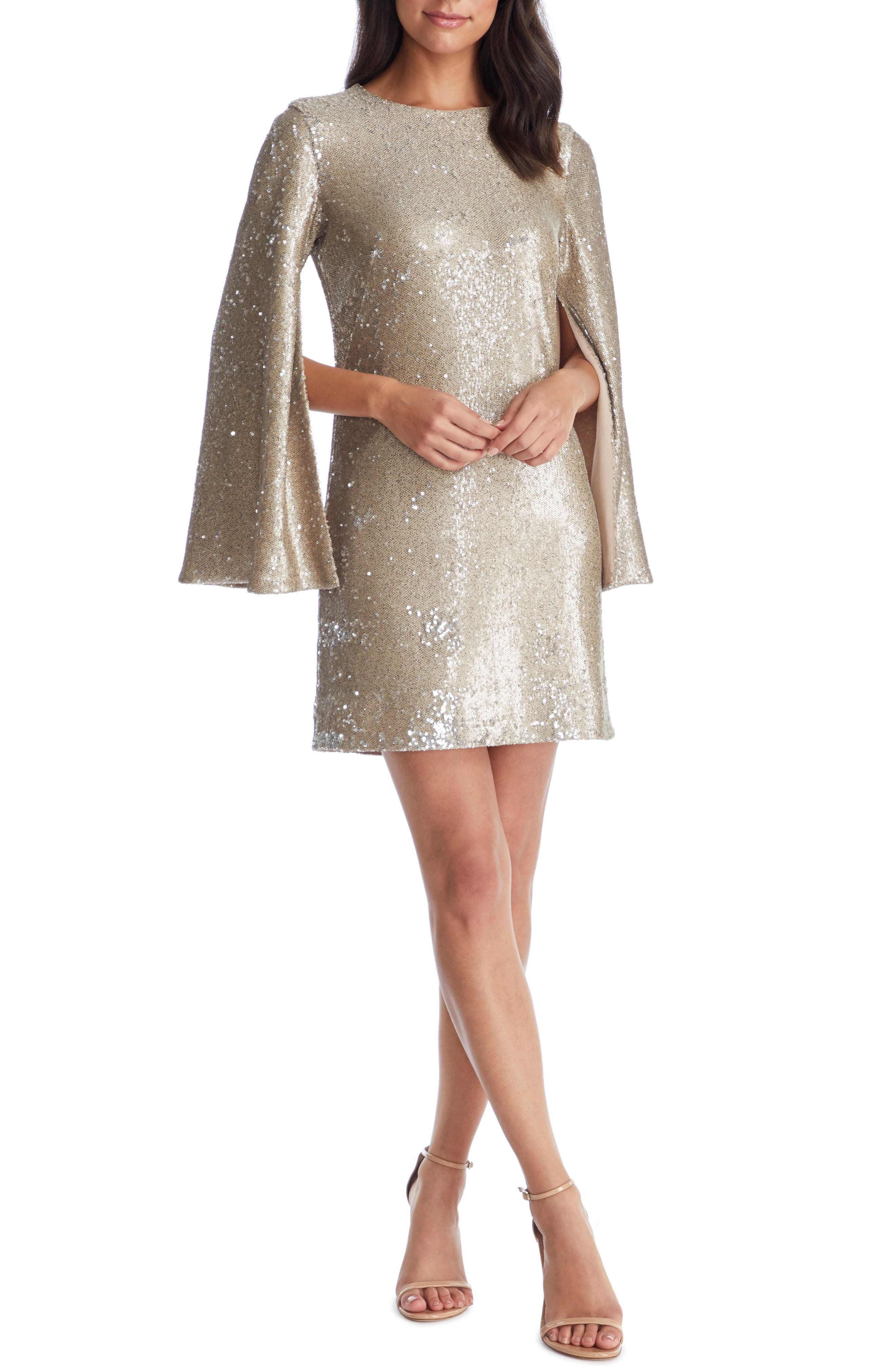 60s Mod Clothing Outfit Ideas Womens Dress The Population Liza Cape Sleeve Sequin Minidress Size XX-Large - Beige $248.00 AT vintagedancer.com