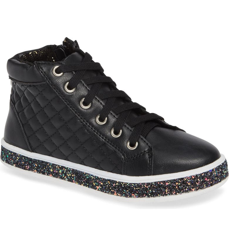 STEVE MADDEN Glittery High Top Sneaker, Main, color, 001