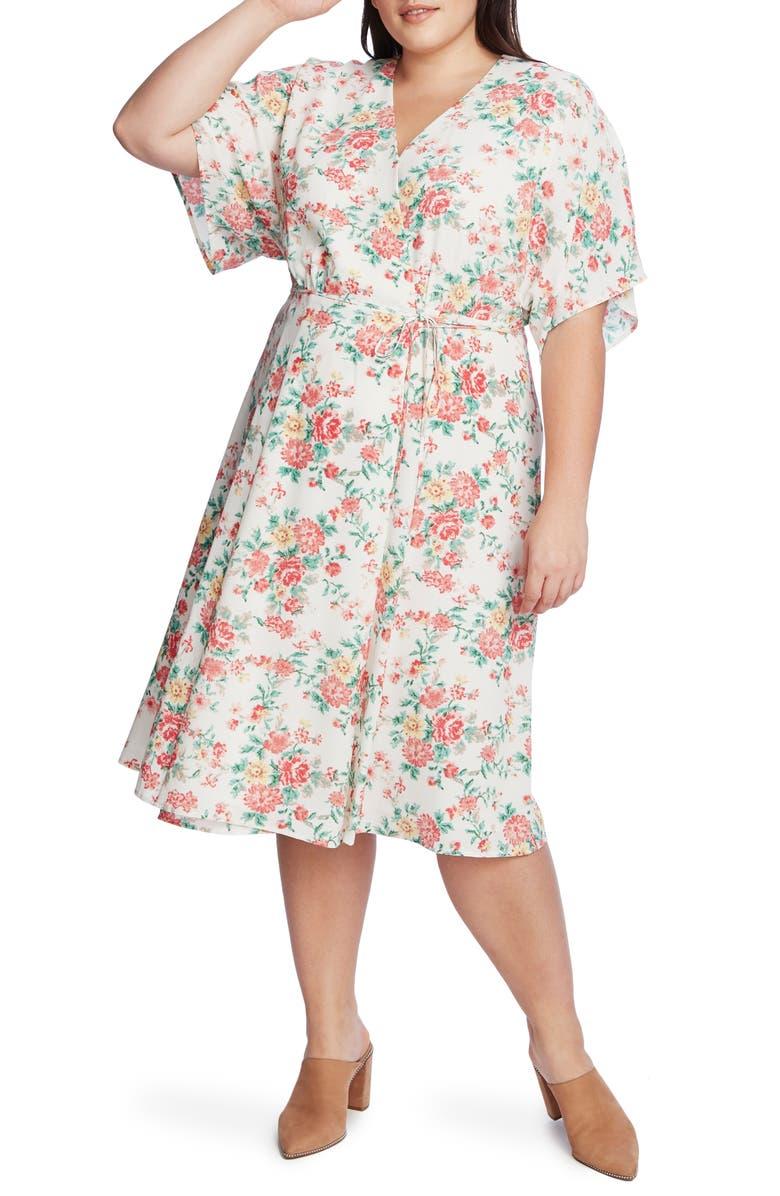 1.STATE Ikat Bouquet Wrap Dress, Main, color, ECRU MULTI
