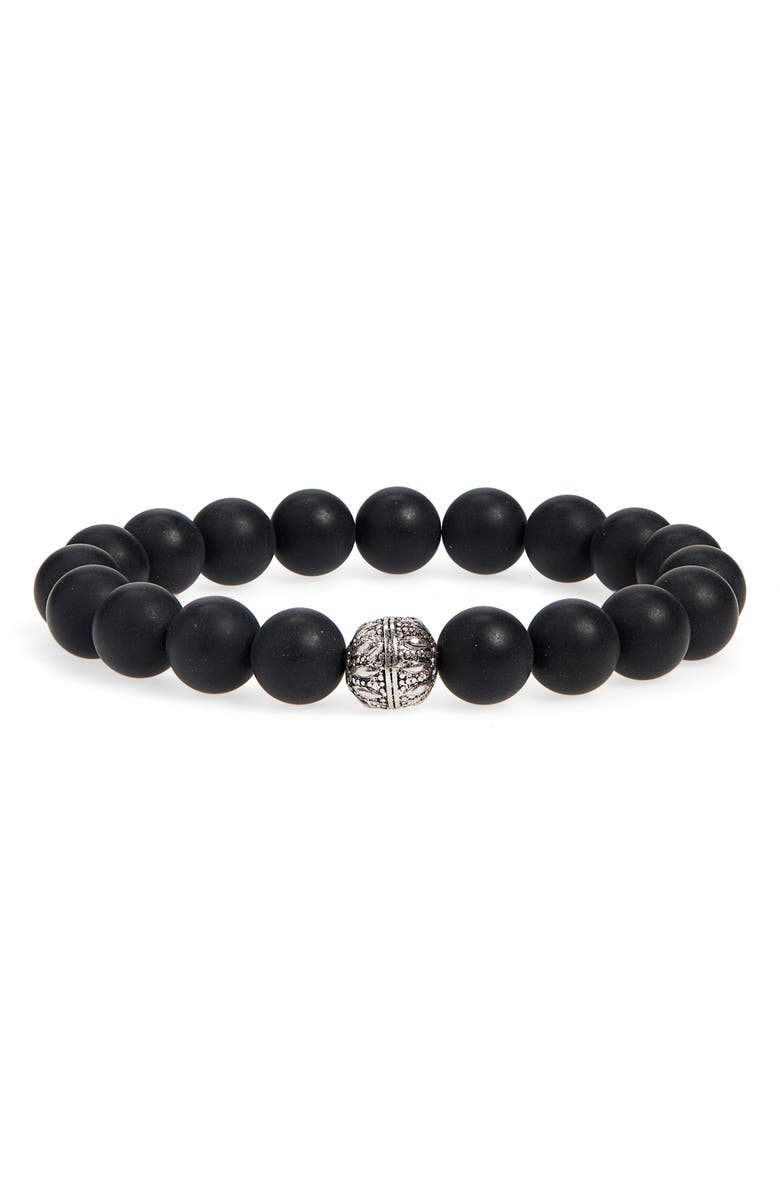 NORDSTROM MEN'S SHOP Stone Bead Stretch Bracelet, Main, color, BLACK