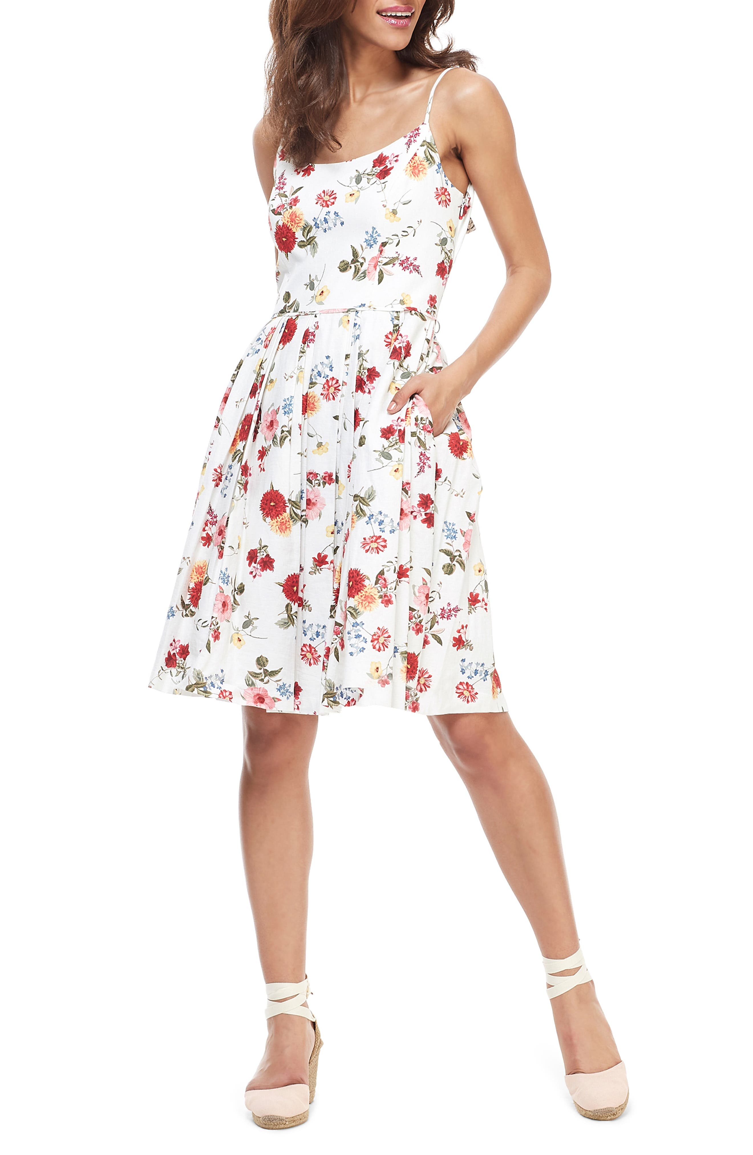 Gal Meets Glam Collection Cassie Back Bow Linen Blend Fit & Flare Dress, White