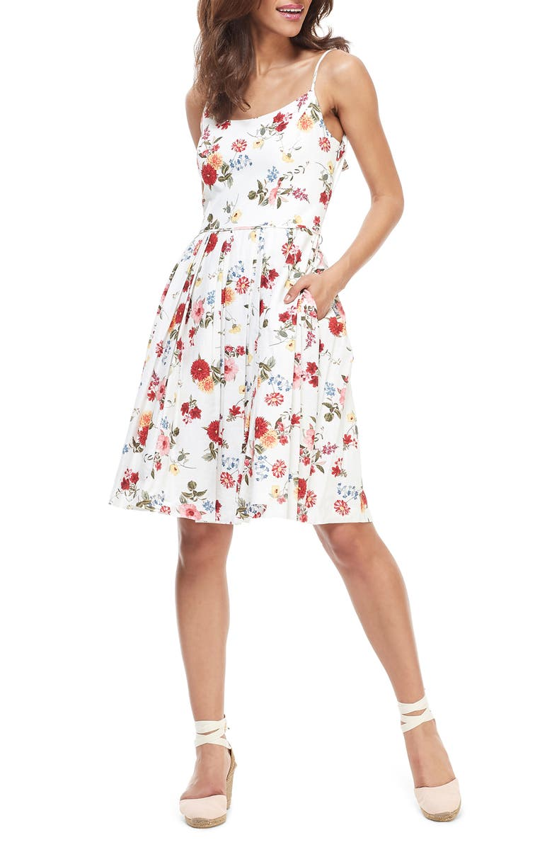 GAL MEETS GLAM COLLECTION Cassie Back Bow Linen Blend Fit & Flare Dress, Main, color, SOFT WHITE