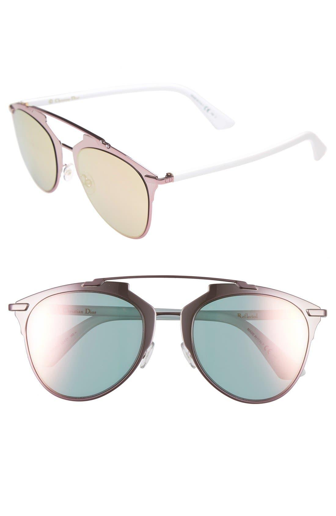 ,                             Reflected 52mm Brow Bar Sunglasses,                             Main thumbnail 22, color,                             650