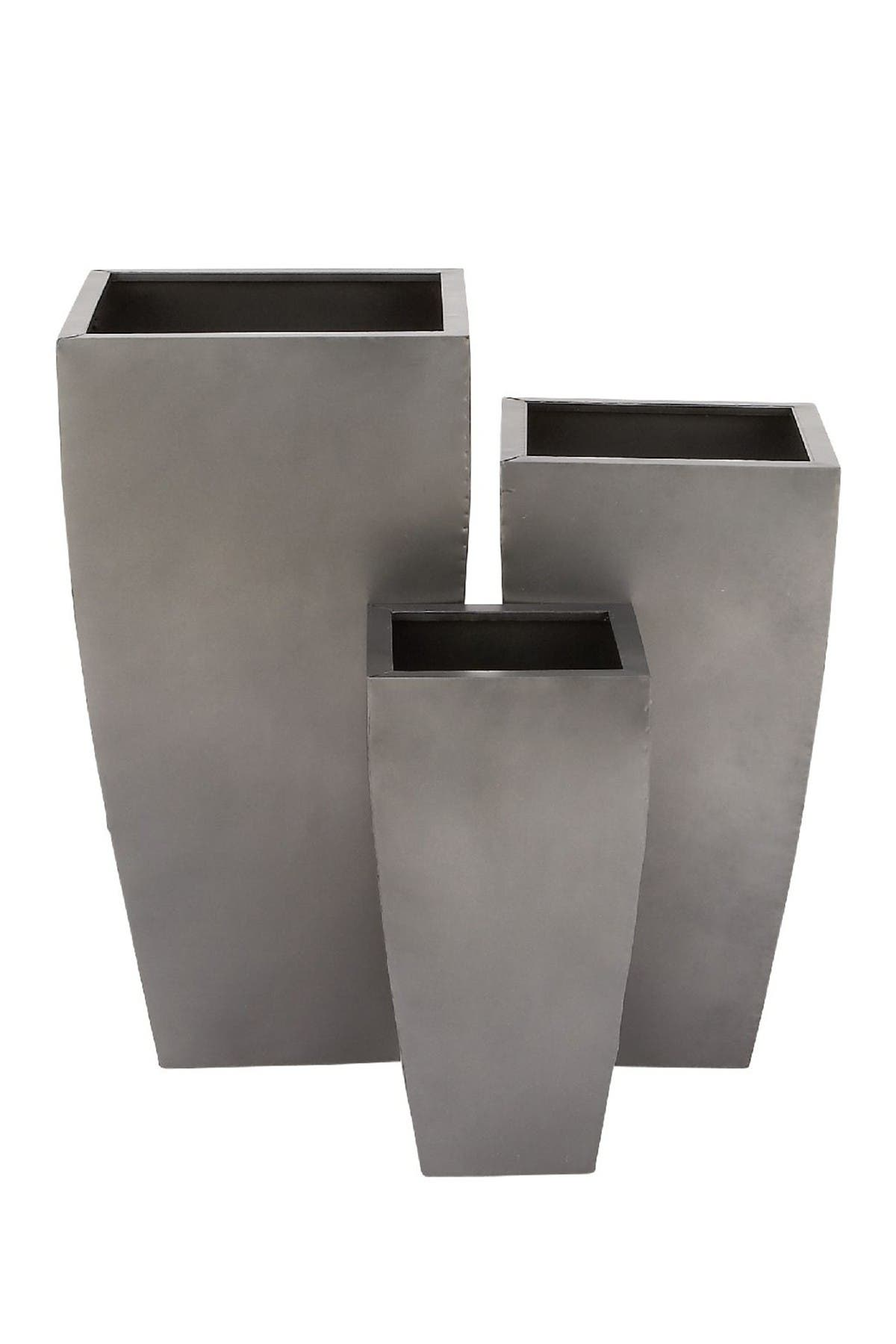 Image of Willow Row Contemporary Tapered Rectangular Gray Iron Planter - Set of 3