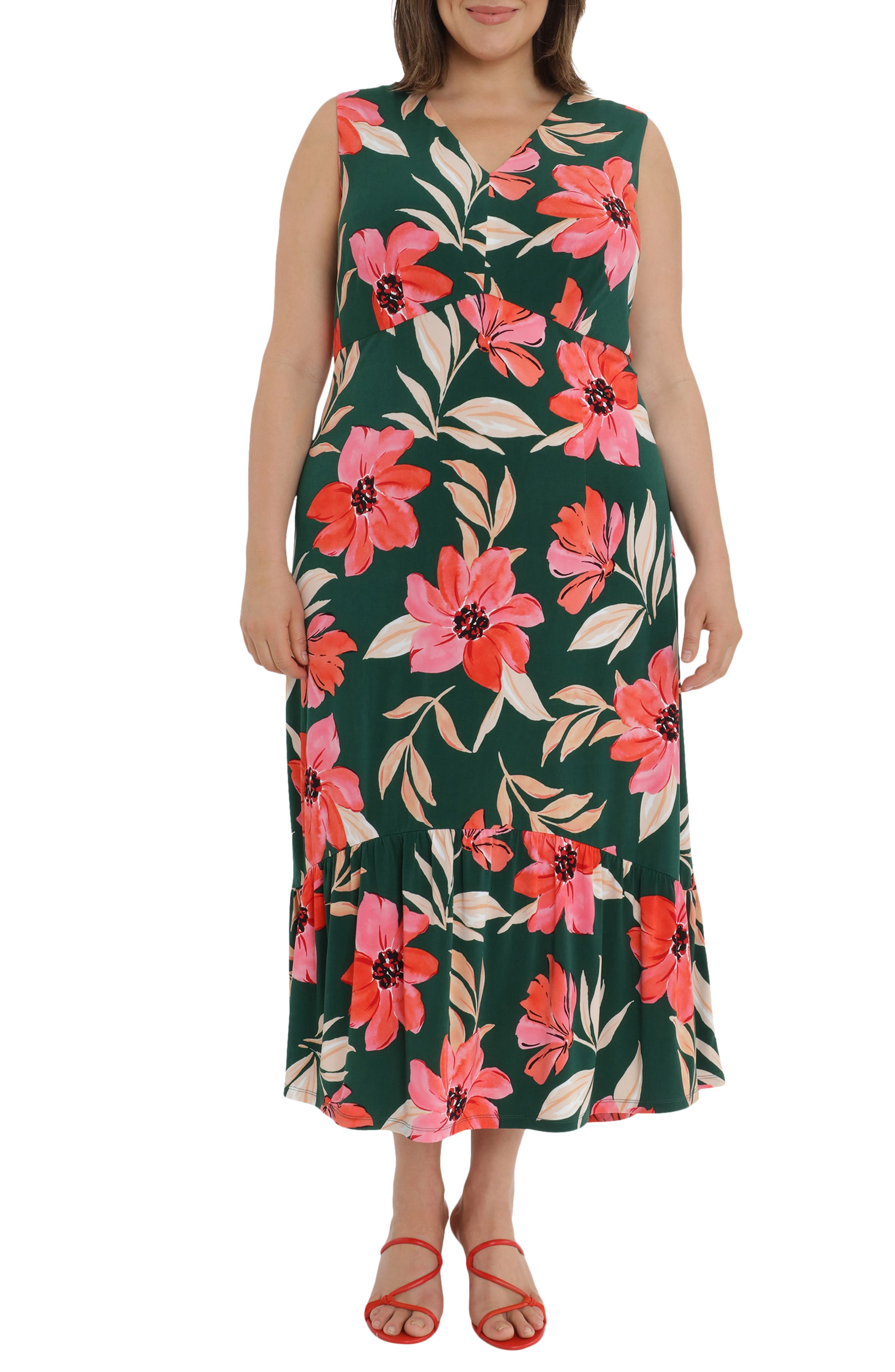 Floral Empire Waist Flounce Hem Maxi Dress