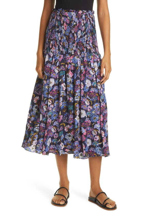 Tanya Taylor Women's Nicolette Smocked Floral Silk Midi Skirt In Mixed Meadow Navy