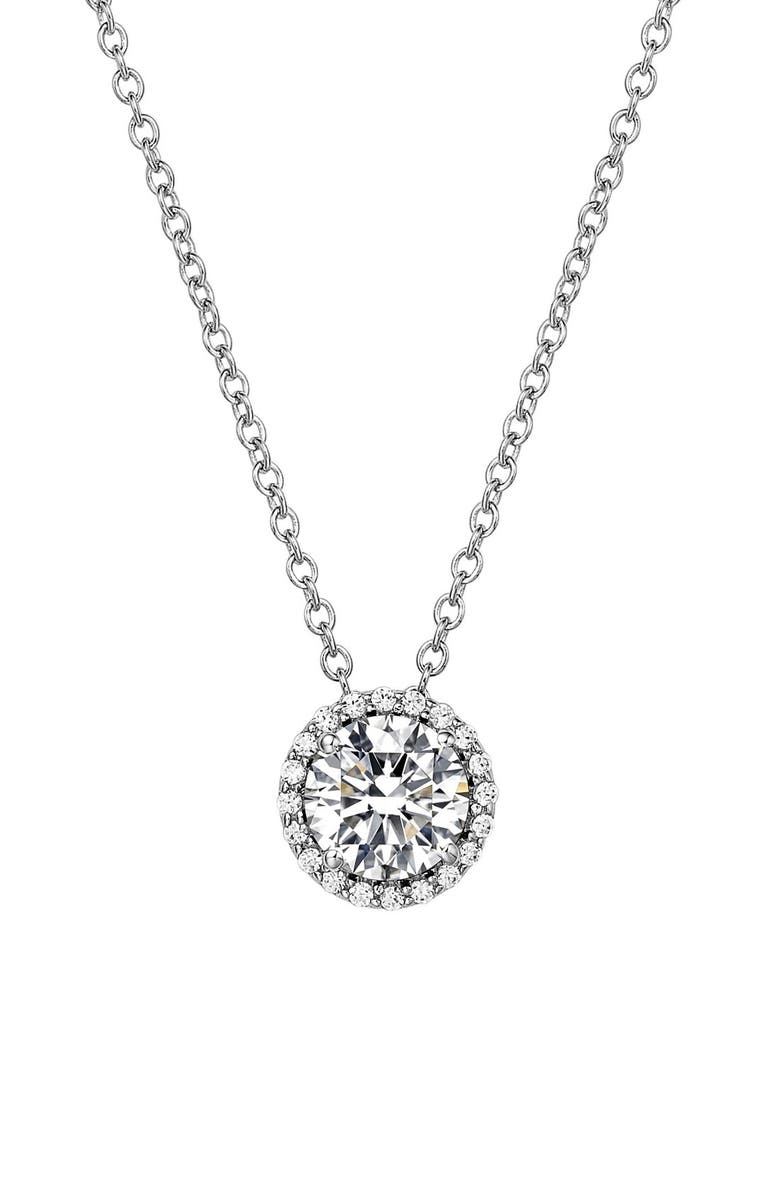 LAFONN Birthstone Halo Pendant Necklace, Main, color, APRIL DIAMOND / SILVER