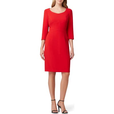 Tahari Crepe Sheath Dress, Red