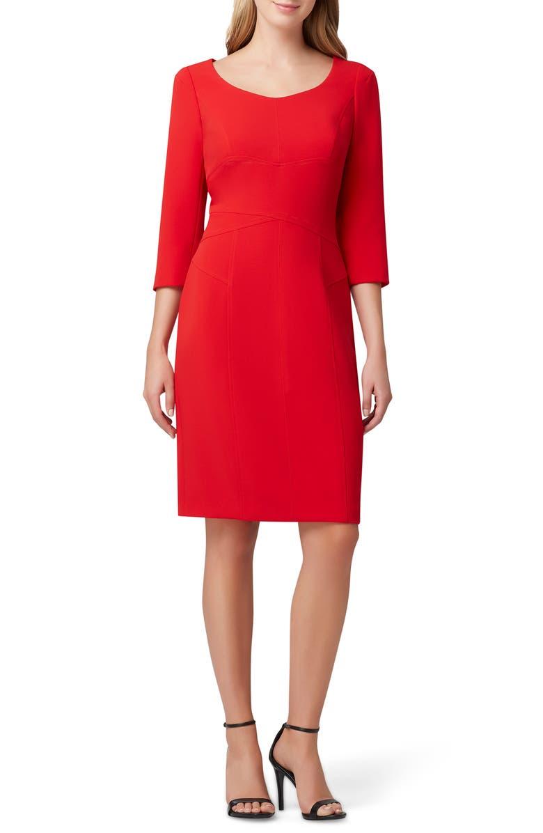 TAHARI Crepe Sheath Dress, Main, color, RUBY