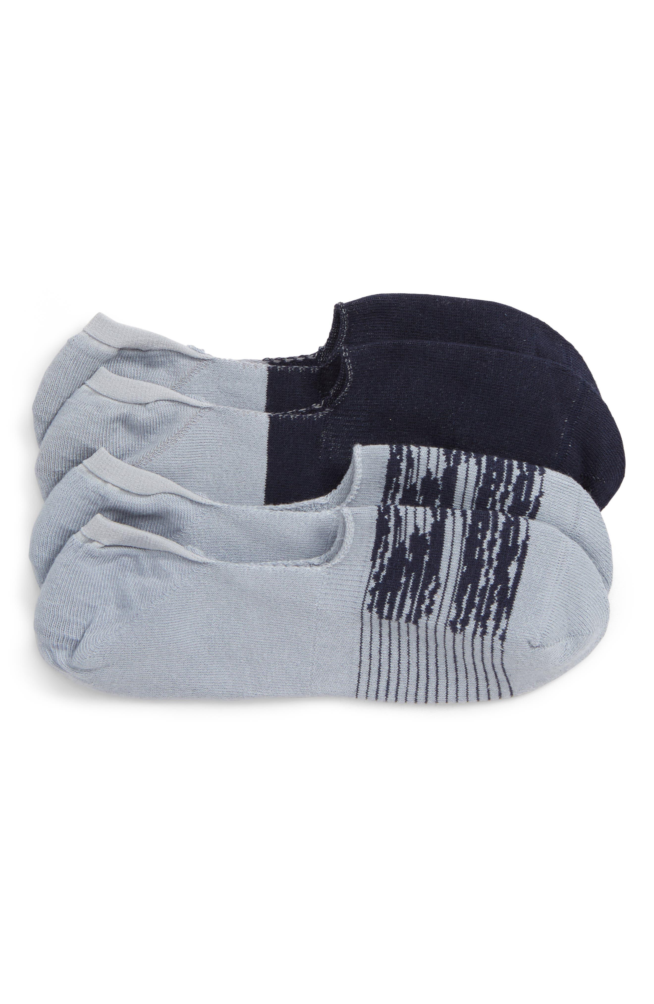 Assorted 2-Pack Liner Socks, Main, color, GREY/ NAVY