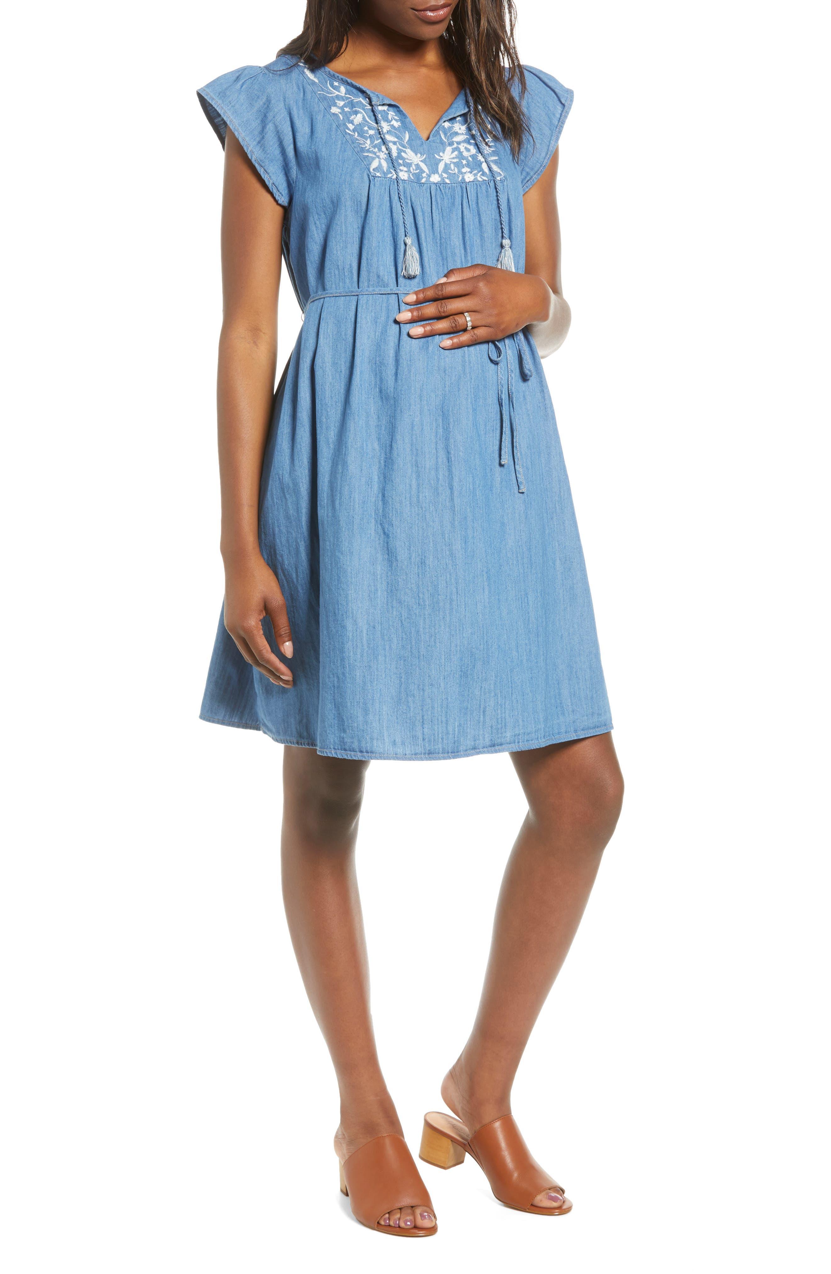 Fourteenth Place Flutter Sleeve Maternity Dress, Blue