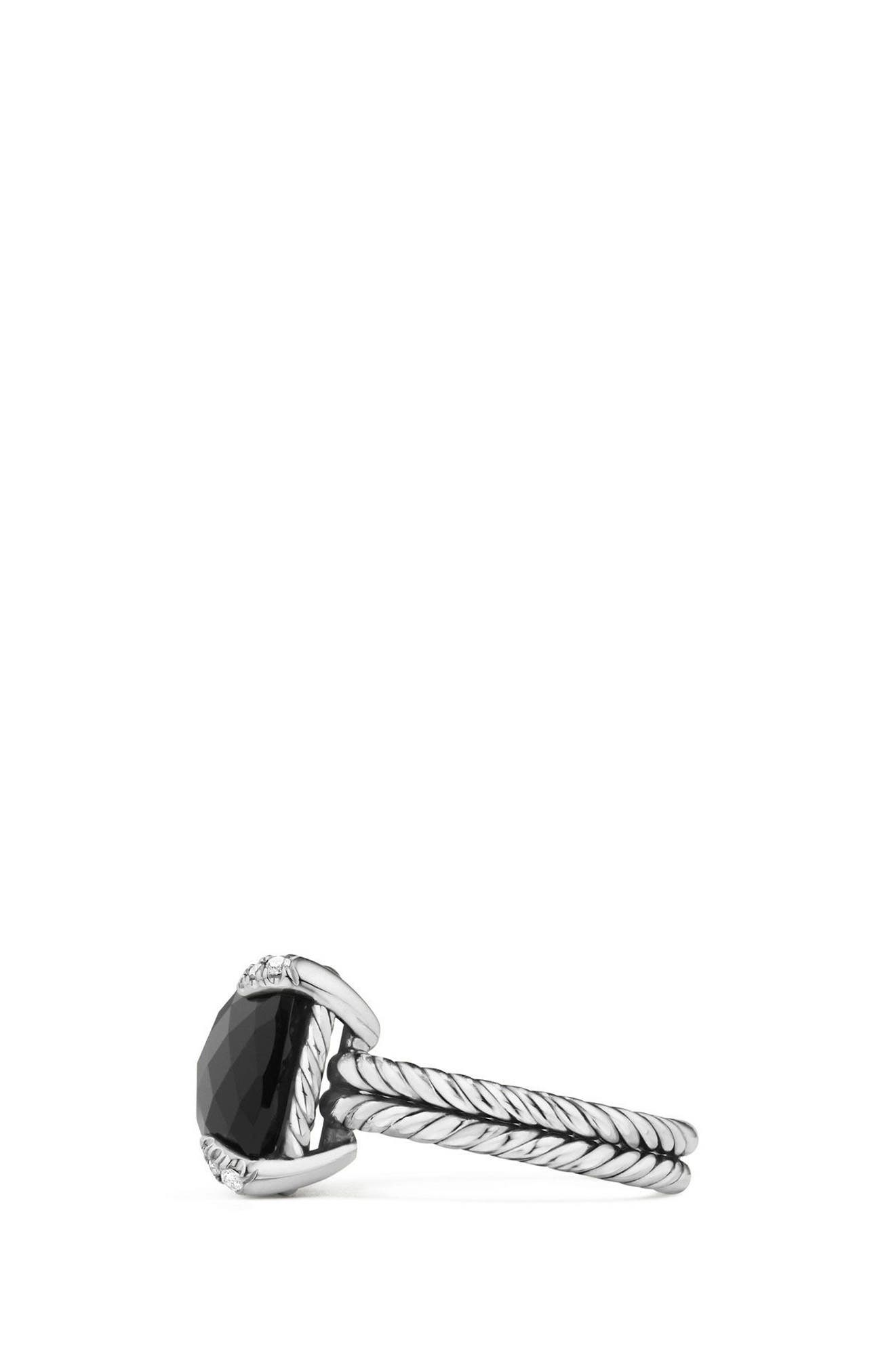 ,                             Châtelaine Ring with Semiprecious Stone & Diamonds,                             Alternate thumbnail 2, color,                             BLACK ONYX?