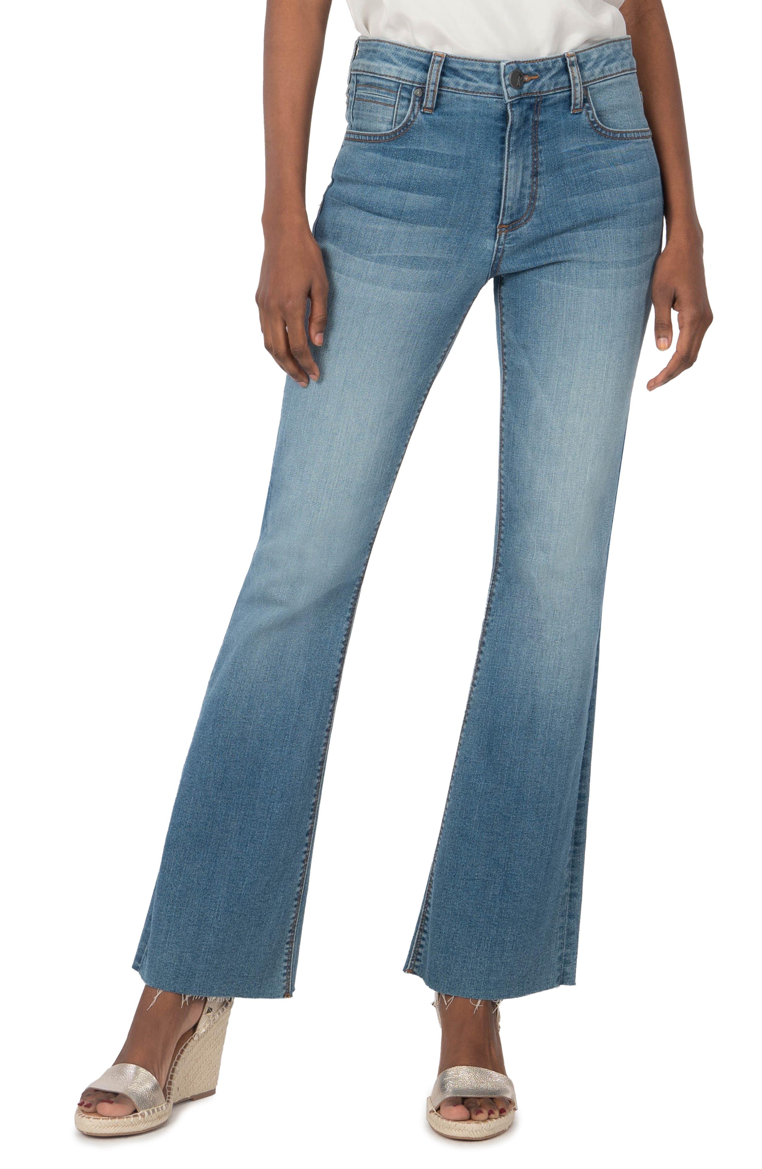 Stella High Waist Fray Hem Flare Jeans