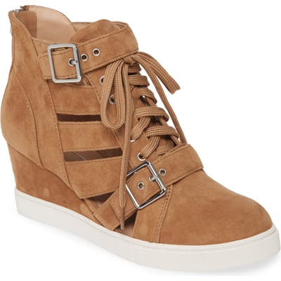 Linea Paolo Fave Cutout Wedge Sneaker, Brown