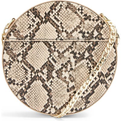 Topshop Gee Circle Faux Leather Shoulder Bag - Beige