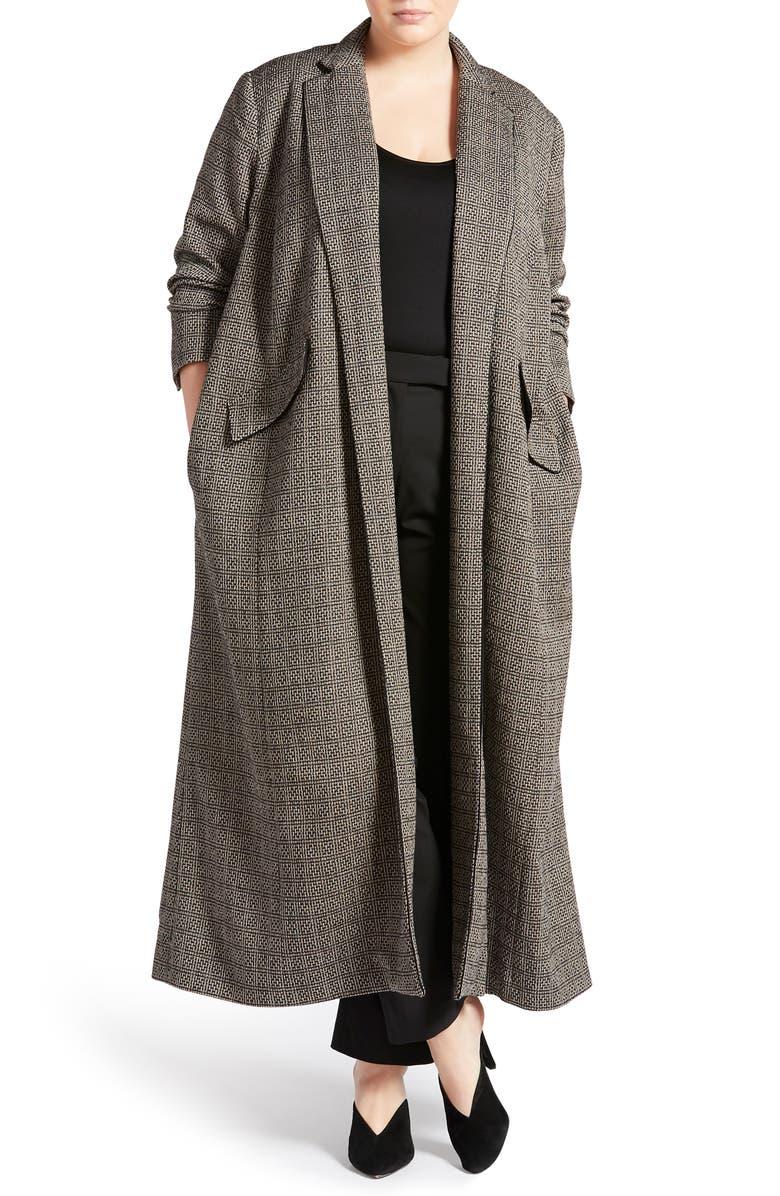 PARI PASSU Virgin Wool Robe Coat, Main, color, BLACK/ TAN