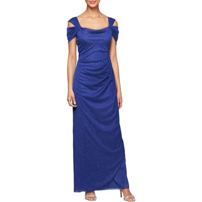 Petite Alex Evenings Cold Shoulder Chiffon Gown, Purple