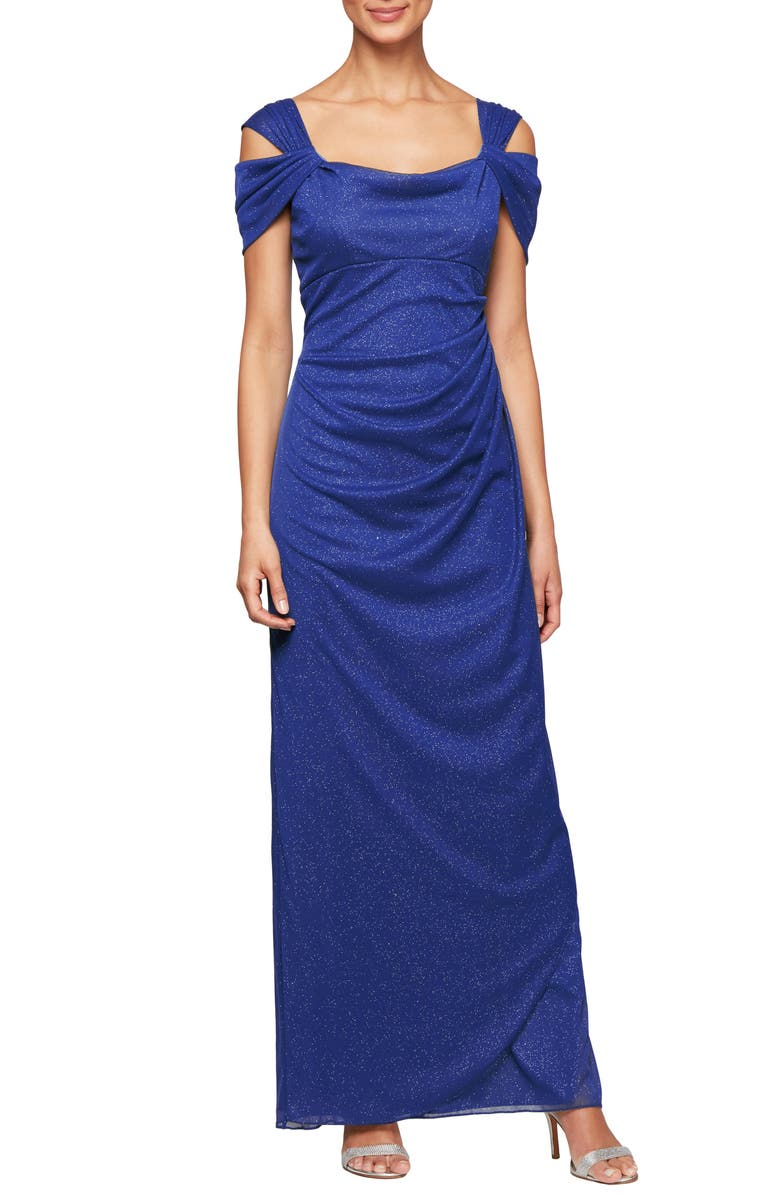 ALEX EVENINGS Cold Shoulder Chiffon Gown, Main, color, BRIGHT PURPLE