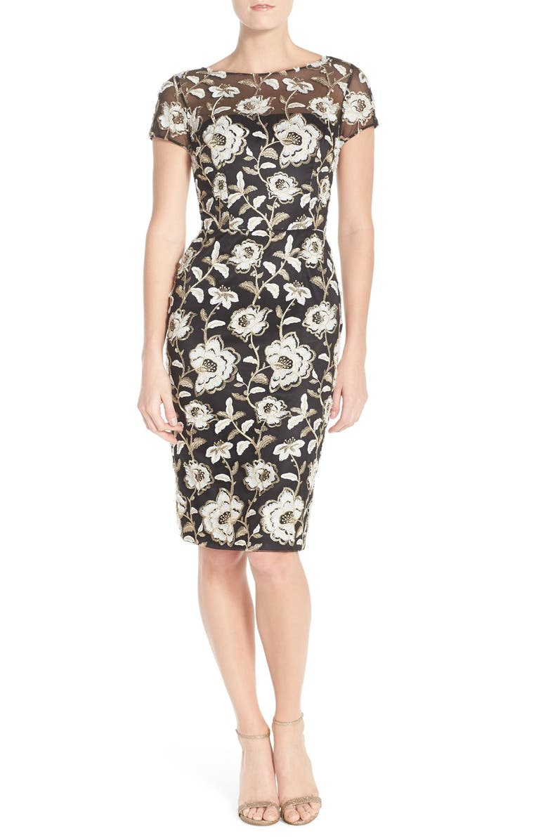 David Meister Embroidered Mesh Sheath Dress | Nordstrom